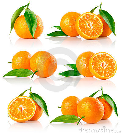 Free Set Of Fresh Mandarine Fruits With Cut Royalty Free Stock Image - 12176596