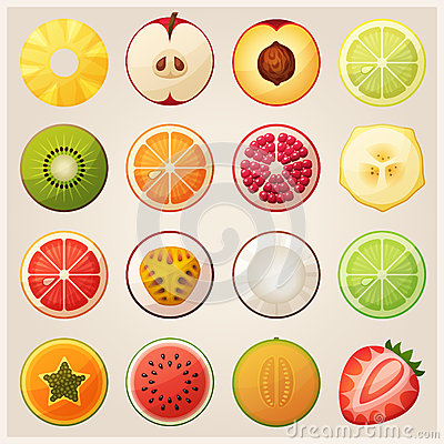 Free Set Of Fruit Halves. Vector Icons Stock Photography - 57497312