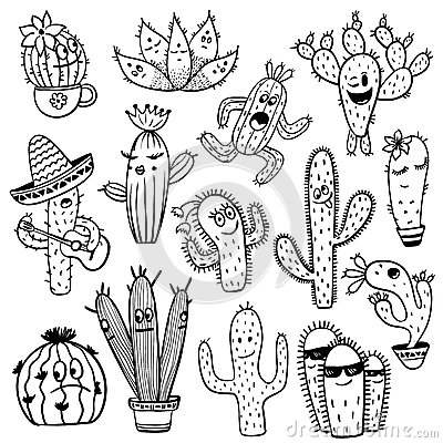 Free Set Of Funny Cactus Characters. Stock Photo - 92914240