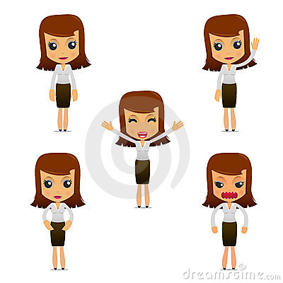 Free Set Of Funny Cartoon Businesswoman Stock Images - 19665804