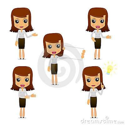 Free Set Of Funny Cartoon Businesswoman Royalty Free Stock Image - 19665806