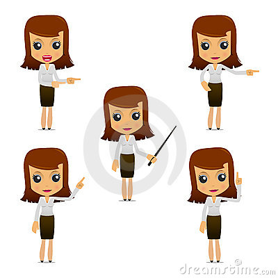 Free Set Of Funny Cartoon Businesswoman Royalty Free Stock Image - 19665826