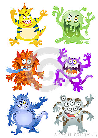 Free Set Of Funny Cartoon Monsters Royalty Free Stock Images - 34530039