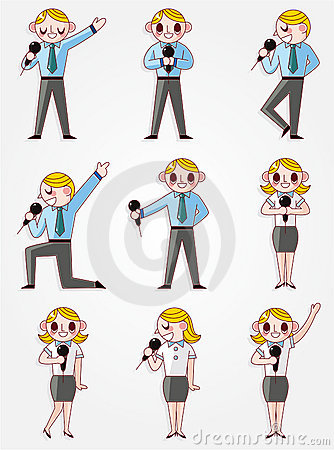 Free Set Of Funny Cartoon Office Worker Talk With Micro Stock Photos - 20694063