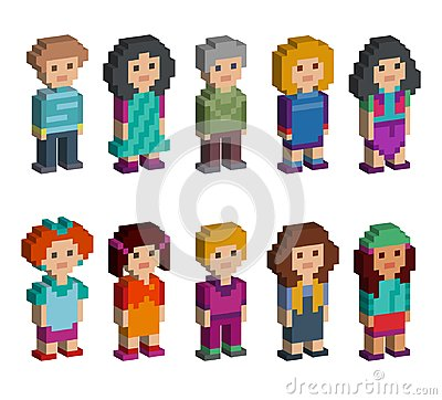Free Set Of Funny Pixel Art Style Isometric Characters Stock Photography - 111420512