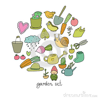 Free Set Of Garden Objects. Plants, Pots And Tools For Gardening. Vegetables And Insects. Royalty Free Stock Image - 92719296