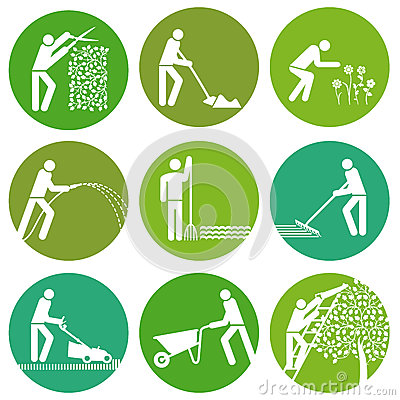 Free Set Of Gardening Buttons Stock Photos - 40071843