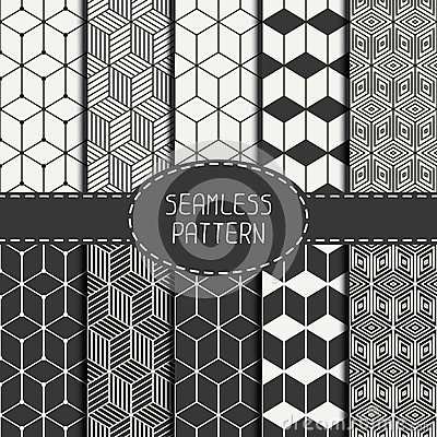 Free Set Of Geometric Abstract Seamless Cube Pattern Royalty Free Stock Image - 53711206