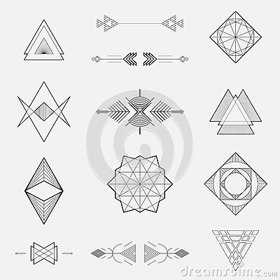 Free Set Of Geometric Shapes, Triangles, Line Design, Royalty Free Stock Photos - 50392948