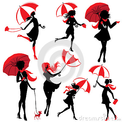 Free Set Of Girls Silhouettes With Umbrellas, On White Backg Stock Photo - 70794100