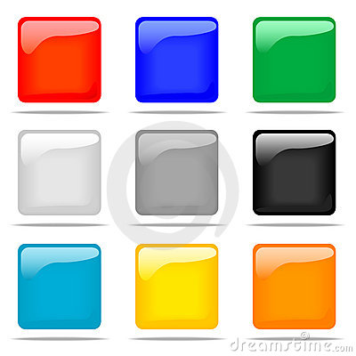 Free Set Of Glossy Square Buttons Royalty Free Stock Image - 5344316