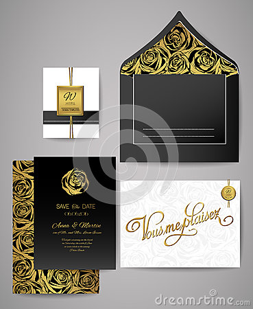 Free Set Of Gold And Black Floral Invitation Cards. Wedding Invitations, Envelope, Rose Pattern. Royalty Free Stock Photos - 79795448