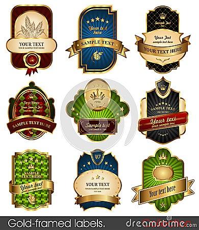 Free Set Of Gold-framed Labels Stock Images - 17544134