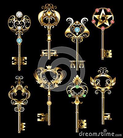 Free Set Of Gold Keys Stock Images - 76163214