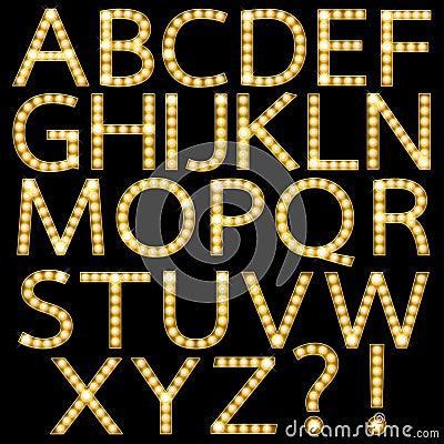 Free Set Of Golden Broadway Light Bulb Alphabet Stock Image - 32932841