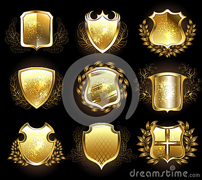 Free Set Of Golden Shields Stock Photography - 49688932