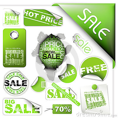 Free Set Of Green Sale Tickets And Labels Royalty Free Stock Image - 11276776
