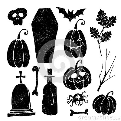 Free Set Of Grunge Halloween Graphic Elements. Royalty Free Stock Photography - 100292207