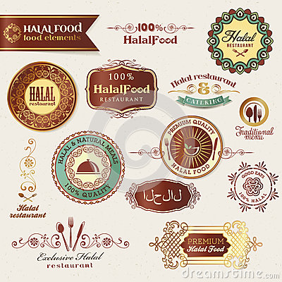 Free Set Of Halal Food Labels And Elements Royalty Free Stock Photography - 25054797