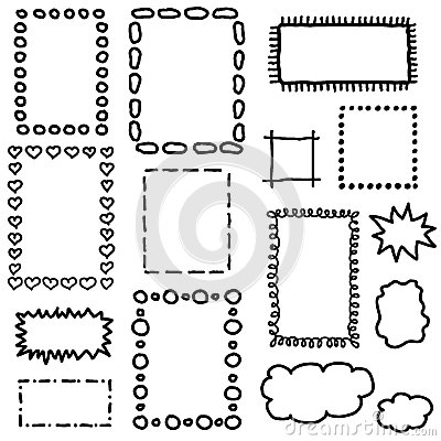 Free Set Of Hand Drawing Frames. Royalty Free Stock Photos - 45658278