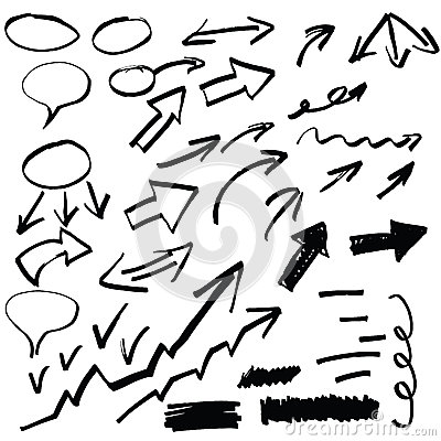 Free Set Of Hand Drawn Arrows And Other Elements, Stock Photography - 39780032