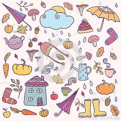 Free Set Of Hand Drawn Autumn Icons. Royalty Free Stock Photography - 80813947