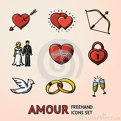 Free Set Of Hand Drawn Love Amour Icons With - Heart Arrow, Two Hearts, Cupid Bow, Couple, Pulse, Locker, Bird, Rings Royalty Free Stock Photography - 78203257