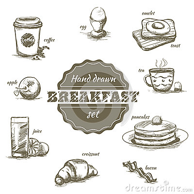 Free Set Of Hand Drawn Morning Dishes And Drinks Royalty Free Stock Image - 50944196