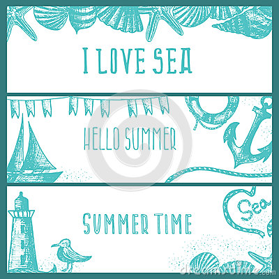 Free Set Of Hand Drawn Sea Themed Banners. Seagull,lighthouse, Royalty Free Stock Images - 74687599