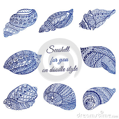 Free Set Of Hand Drawn Seashell With Ethnic Motif. Abstract Zentangle Stylized Cockleshells. Ocean Life Doodle Collection. Vector Illus Stock Image - 65453811