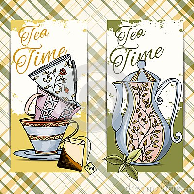 Free Set Of Hand Drawn Tea Time Cards Royalty Free Stock Photography - 41666447