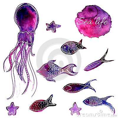 Free Set Of Hand Drawn Vector Watercolor Underwater Fishes And Octopus. Artistic Design Elements. Stock Image - 47217121