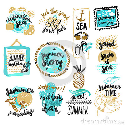 Free Set Of Hand Drawn Watercolor Badges And Stickers Of Summer Royalty Free Stock Photography - 71767977