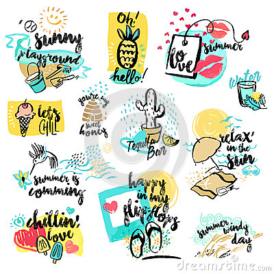 Free Set Of Hand Drawn Watercolor Signs Of Summer Royalty Free Stock Photos - 71768008