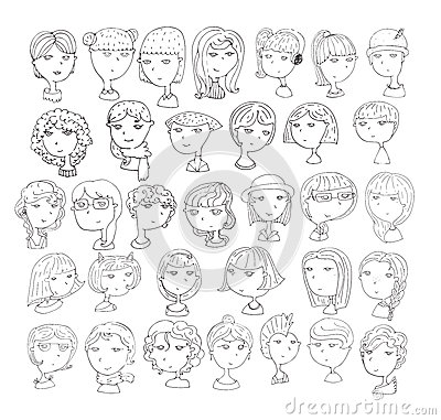 Free Set Of Handdrawn Girls Heads. 33 Different Hairstyle, Smiling Faces, With Accessories, Hats, Cat Ears, Headphones. Black And White Stock Images - 73582834