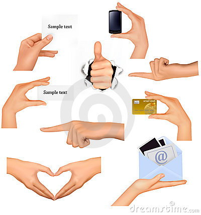 Free Set Of Hands Holding Different Business Objects. Stock Photos - 21827643