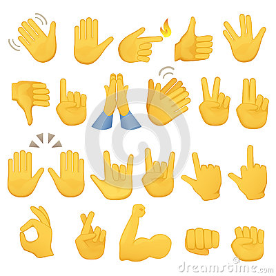 Free Set Of Hands Icons And Symbols. Emoji Hand Icons. Different Gestures, Hands, Signals And Signs, Vector Illustration. Royalty Free Stock Image - 79997656