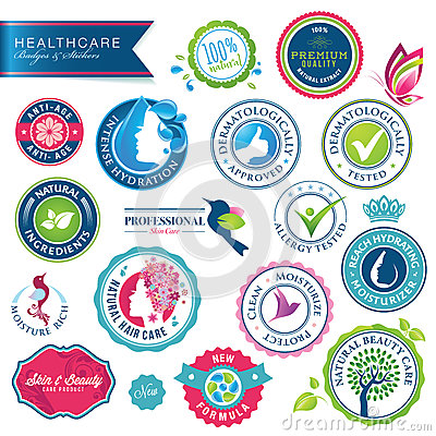 Free Set Of Health Care Badges And Stickers Royalty Free Stock Photography - 26156867