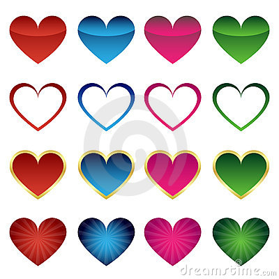 Free Set Of Heart Icons Royalty Free Stock Image - 17684126