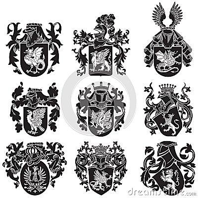 Free Set Of Heraldic Silhouettes No2 Royalty Free Stock Photos - 35142928