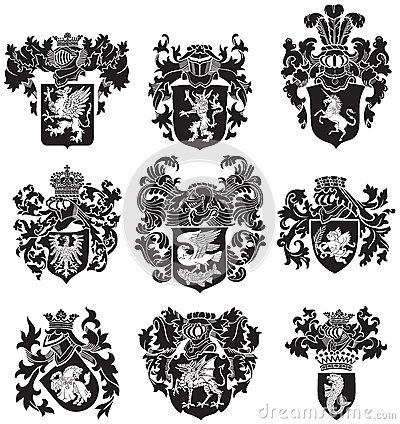 Free Set Of Heraldic Silhouettes No3 Stock Photo - 35142960