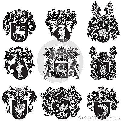 Free Set Of Heraldic Silhouettes No5 Stock Photo - 35143000