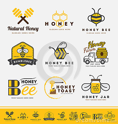 Free Set Of Honey Bee Logo And Labels For Honey Products. Royalty Free Stock Photo - 64552185