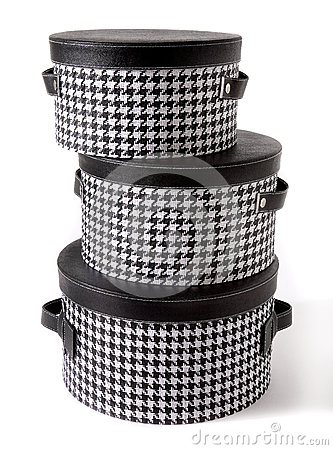 Free Set Of Houndstooth Check And Black Leather Bandboxes Royalty Free Stock Photo - 30229335