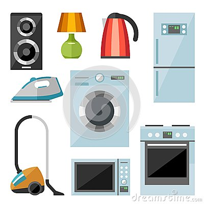 Free Set Of Household Appliances Flat Icons Stock Photos - 52276263