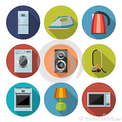 Free Set Of Household Appliances Flat Icons Stock Images - 52282854