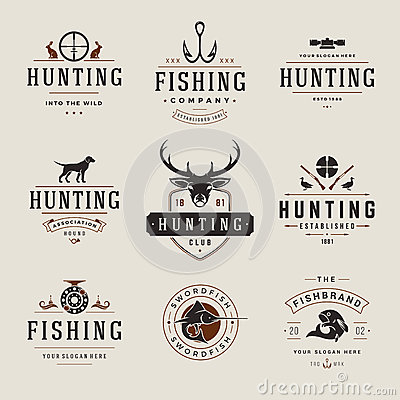 Free Set Of Hunting And Fishing Labels, Badges, Logos Stock Photo - 61709210