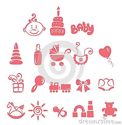 Free Set Of Icons - Baby Girl Stock Image - 15369751