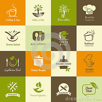 Free Set Of Icons For Organic And Vegetarian Food, Cook Royalty Free Stock Photography - 37989007