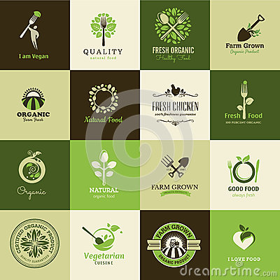 Free Set Of Icons For Organic Food And Restaurants Royalty Free Stock Photos - 33088448